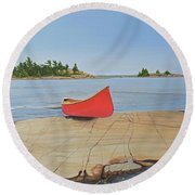 Round Beach Towel featuring the painting Killarney Canoe by Kenneth M Kirsch