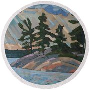Killbear Pines And Morning Crepuscular Rays Round Beach Towel