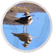 Killdeer Reflection Round Beach Towel by Karen Silvestri