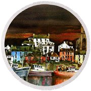 Killybegs Harbour, Donegal. Round Beach Towel