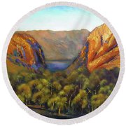 Round Beach Towel featuring the painting Kimberley Outback Australia by Chris Hobel