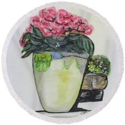 Kimberly's Castellabate Flower Pot Round Beach Towel