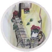 Kimberly's Castellabate Flowers Round Beach Towel
