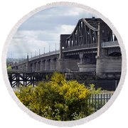 Round Beach Towel featuring the photograph Kincardine Bridge by Jeremy Lavender Photography
