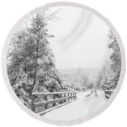Round Beach Towel featuring the photograph Kindness Is Like Snow by Lori Deiter