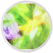 Kindred Spirits, Cornflower And Cosmos Flower Round Beach Towel