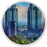 King And Queen Buildings Round Beach Towel