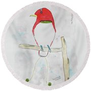 King Bird Of Paradise Round Beach Towel
