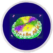 King Cake Round Beach Towel