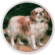 King Charles Spaniel Round Beach Towel by George Sheridan Knowles