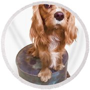 King Charles Spaniel Puppy Round Beach Towel