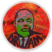 King Dreaming Round Beach Towel by Miriam Moran