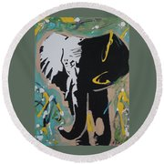 King Elephant Round Beach Towel