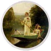 King Henry John Yeend Two Ladies Punting On The River Round Beach Towel