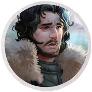 Round Beach Towel featuring the painting King In The North by Michael Myers