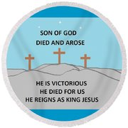 King Jesus Round Beach Towel by Linda Velasquez