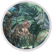 Round Beach Towel featuring the painting King Kong Vs T-rex by Bryan Bustard