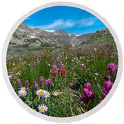 King Lake Summer Landscape Round Beach Towel