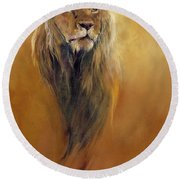 King Leo Round Beach Towel by Odile Kidd
