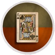 King Of Clubs In Wood Round Beach Towel