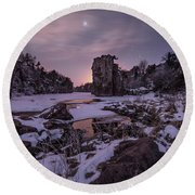 Round Beach Towel featuring the photograph King Of Frost by Aaron J Groen
