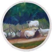 Round Beach Towel featuring the painting King Of Green Hill Farm by Donna Tuten