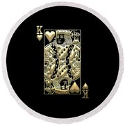 King Of Hearts In Gold On Black Round Beach Towel