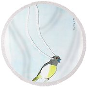 King Of Saxony Bird Of Paradise Round Beach Towel by Keshava Shukla