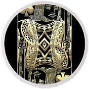 King Of Spades In Gold On Black   Round Beach Towel
