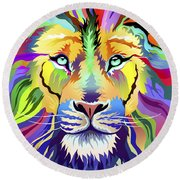 King Of Techinicolor Variant 1 Round Beach Towel