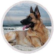 King Of The Beach - German Shepherd Dog Round Beach Towel
