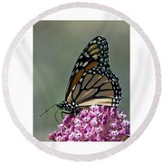 King Of The Butterflies Round Beach Towel