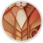 King Of The Cats Round Beach Towel by Jutta Maria Pusl