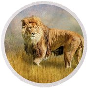 King Of The Serengeti Round Beach Towel