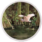 Round Beach Towel featuring the painting King Of The Swamp by David  Van Hulst