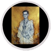 Round Beach Towel featuring the painting King Phumiphol by Chonkhet Phanwichien