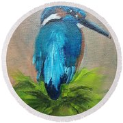 Kingfisher Bird Round Beach Towel