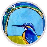 Kingfisher Round Beach Towel by Dora Hathazi Mendes