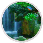 Kingfisher Falls Round Beach Towel