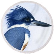Kingfisher Portrait Round Beach Towel by Charles Harden