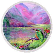 Kingfisher, Shimmering Streams Round Beach Towel
