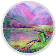 Kingfisher, Shimmering Streams Round Beach Towel by Jane Small