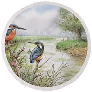 Kingfishers On The Riverbank Round Beach Towel