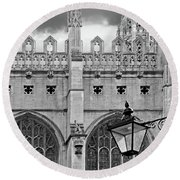 Round Beach Towel featuring the photograph Kings College Chapel Cambridge Exterior Detail by Gill Billington