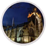 King's College In The Moonlight Round Beach Towel
