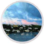 Round Beach Towel featuring the photograph King's Wharf Bermuda Harbor Sunrise by Susan Savad