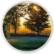 Round Beach Towel featuring the photograph Kingsbury Sunset by Kendall McKernon