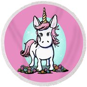 Kiniart Unicorn Sparkle Round Beach Towel by Kim Niles