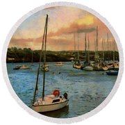 Round Beach Towel featuring the painting Kinsale Harbour Evening by Jeff Kolker
