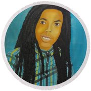 Round Beach Towel featuring the painting Kinshasa My First Grandchild by Nicole Jean-Louis